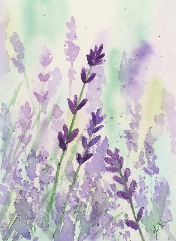 Original aquarelle lavande, Original lavande Art, 5 x 7, aquarelle de fleurs violettes, Art de champ lavande