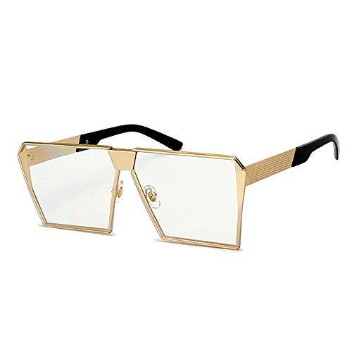 Eyerno Fashion Oversized Flat Top Mirrored Sunglasses Vin... .amazon.com