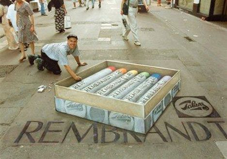 """Julian Beever's world-renowned sidewalk chalk drawings have been a viral hit all over the internet, and it's easy to see why: he's a master of the anamorphic technique, which he's been perfecting since the mid 1990s. Each of Julian's creations typically take a full day to complete, and by the next day they're just a memory, washed away by rain or walked upon by pedestrians. The English artist has been given the nickname """"The Pavement Picasso"""", and he continues to work all over the world."""