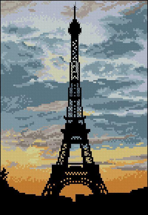 Free cross-stitch pattern 'La Tour Eiffel' Pattern Name: La Tour Eiffel Fabric: Aida 14, White 100w X 145h Stitches Size(s): 14 Count,