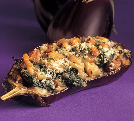 Aubergines Filled with Spinach and Mushrooms (aubergines, olive oil, onion, garlic, mushrooms, spinach, Parmesan, fromage frais, breadcrumbs, lemon zest, pine nuts, parsley)