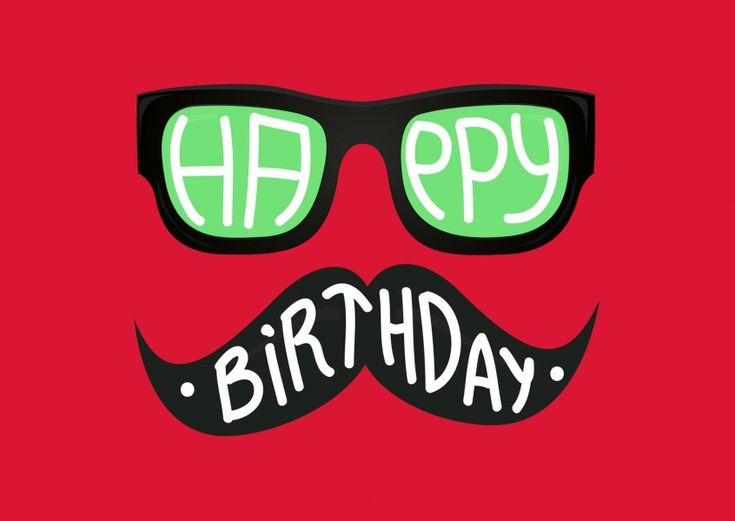 Hipster Birthday (red) | Happy Birthday | Echte Postkarten online versenden…