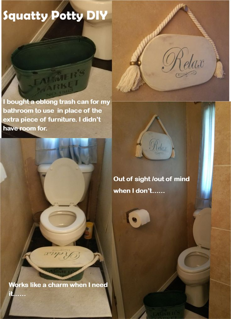 DIY Squatty Potty!  I didn't have room for another piece of furniture/equipment in my small space.  so I came up with this alternative.
