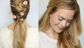 Wrapped Half Up Fishtail Braid