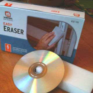 Magic Eraser (any brand) for resurfacing DVDs! Hear me, people. This fixes scratched/ skipping CDs and DVDs. Using a damp magic eraser, work from middle to edge, then following the curve of the DVD. (You're scuffing down the surface to the level of the scratch.) Reclaimed my fave workout vid from the rubbish bin. Yay. Now I have *no* excuse not to sweat.