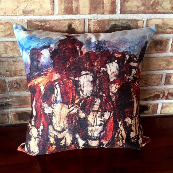Rustic Modern Décor  Herding Cattle Linen Decorative Pillow Cover by HorseEyeDesigns on Etsy