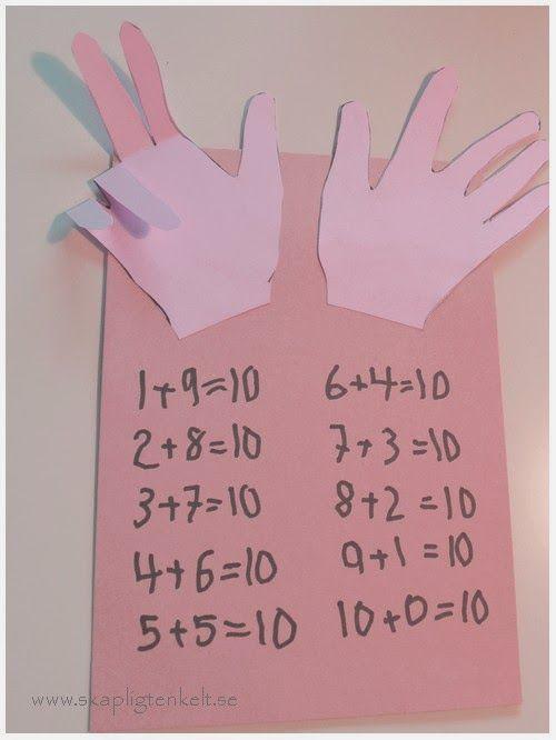 Rita av barnets händer och limma på ett papper. Använd sedan fingrarna för att skriva ner alla tiokamrater.