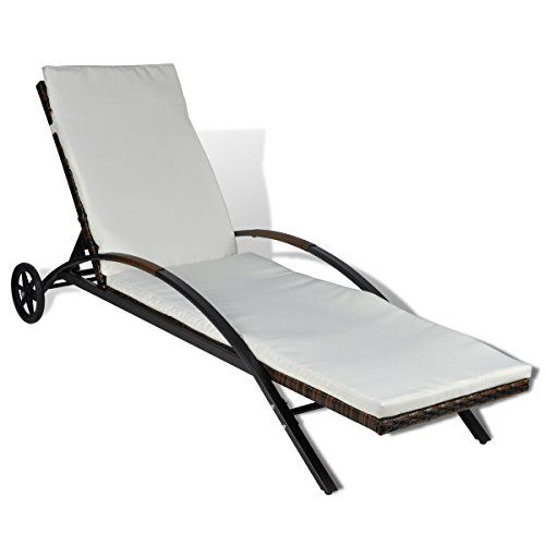 vidaXL Outdoor Furniture Rattan Lounge Bed Lounge Chair Recliner Castors Brown---91.99---