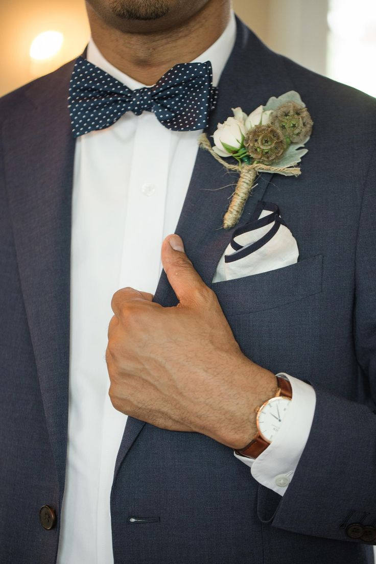 Groom attire, navy blue polka dot bow-tie, white and blue pocket square, natural bout // Mariana Feely Photography