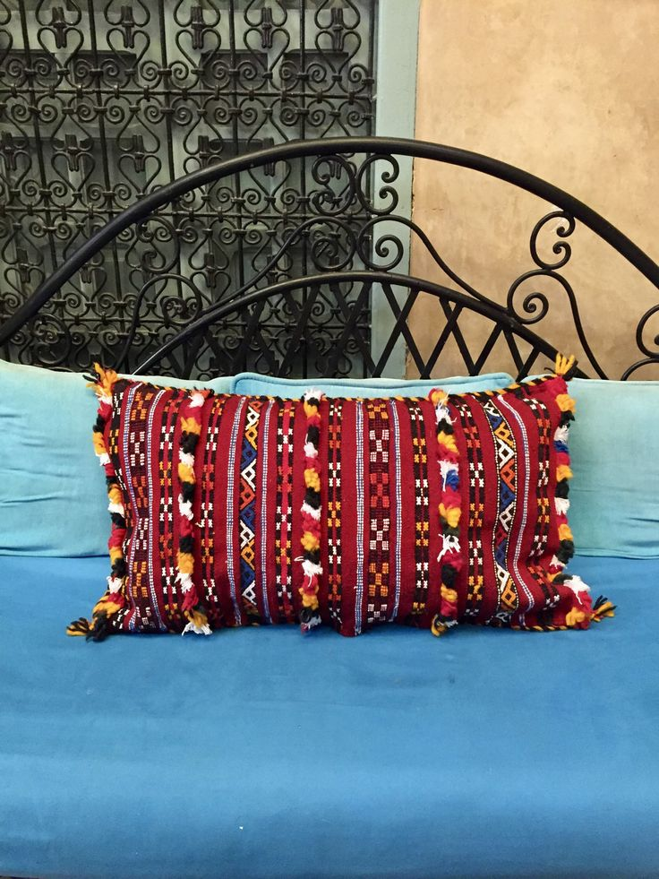 Rectangular Moroccan Berber Ethnic Pillowcase with Symbols Handmade In Wool Vintage Looking Bohemian Home Decor Item From Atlas Mountains by BYKechSouks on Etsy