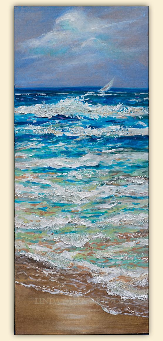 This series has a lot of very thick acrylic paints, plasters and textures. I did two on thick gallery wrap canvases. One is 60x20 and one is 40x20. I started them when I returned  from Jamaica trying to capture the colors of the water and skies. On the trip, the ocean was usually very calm but I imagined a sailboat race where there was a brisk breeze which stirs up the waves.