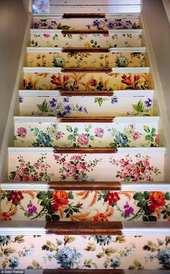 Wallpapered stairs from Sarah Moore Vintage x