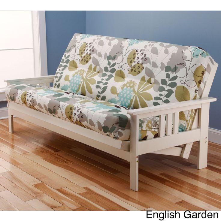 Somette Beli Mont Multi Flex Antique White Wood Futon Frame With Innerspring Mattress English Garden Size Full