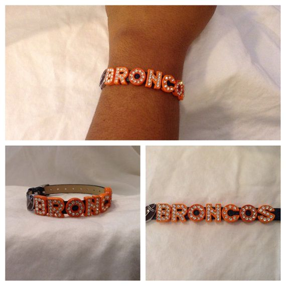 Denver Broncos Orange Rhinestone Football by CharminLovely on Etsy