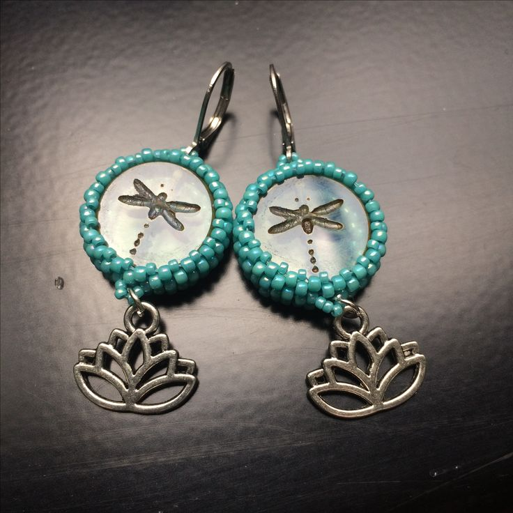 Yoga lotus earrings - beadweaving, Czech glass beads with a dragonfly.