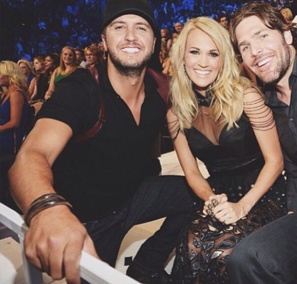 Luke Bryan and Carrie Underwood and Mike Fisher