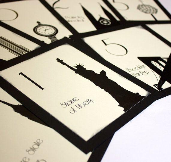 NYC Table Number Wedding Decor Sign New York Icons Landmarks Silhouette City Manhattan Single Sample on Etsy, £1.70