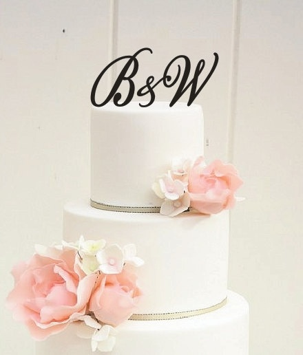 3 Piece Sweetheart Custom Letter Monogram Wedding Cake Topper with Ampersand. $38.00, via Etsy.