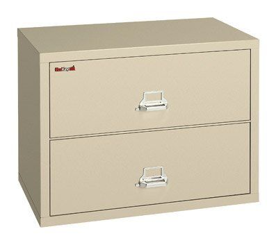 """FireKing Two-Drawer Fireproof Lateral File Cabinet, 31-3/16inch W x 27-3/4inch H, Dock-to-Dock by FireKing. $1999.99. Drawers accommodate standard or hanging files. Holds letter and legal size documents. Fireproof insulation is 100% gypsum, reinforced by 1"""" x 2"""" lattice made of 14-gauge, galvanized, we. UL 1-hour fire protection with impact rating. High-security key lock ISO 9001 quality standard. FireKing Lateral files provide your important records with the protection y..."""