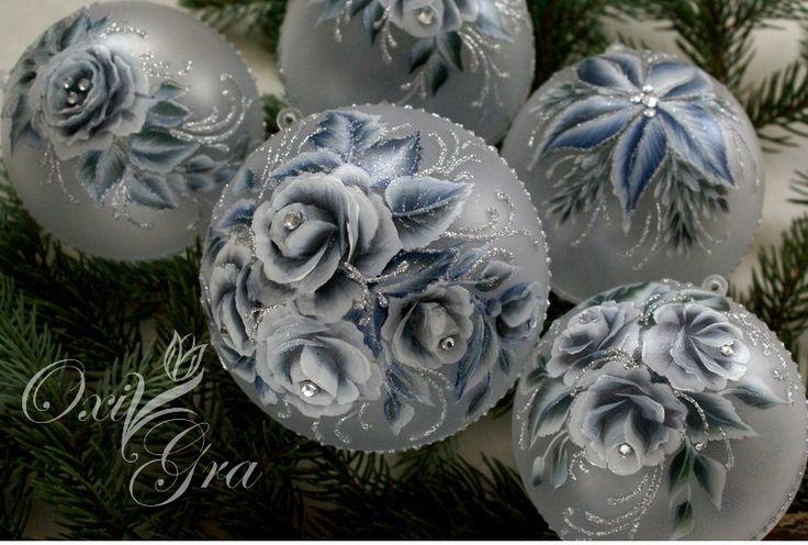 #OxiGra #bombki #recznie #malowane #srebrne #ornament