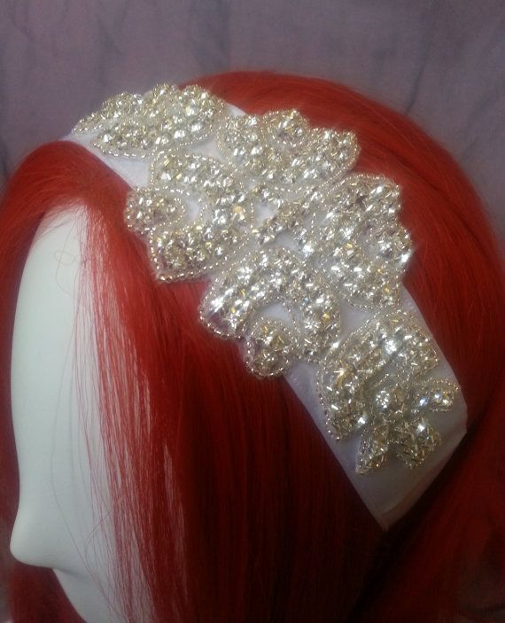 Rhinestone beaded applique on long white ribbon, bridal headpiece, bridal headband. wedding headband, bridal sash #etsy #hairaccessories