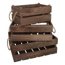 Old wood wooden set of 3 rustic crates