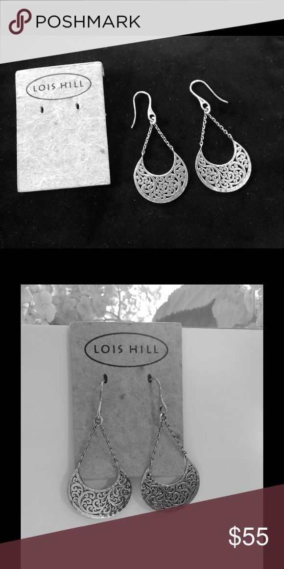 Lois Hill earrings Beautiful dangle earrings featuring the beautiful signature carved scroll design by Lois Hill. Lois Hill Jewelry Earrings