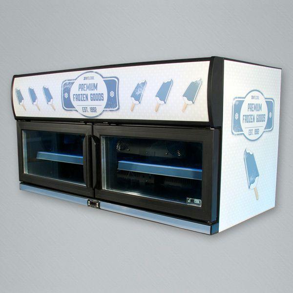 Double door horizontal freezer with 90L capacity.