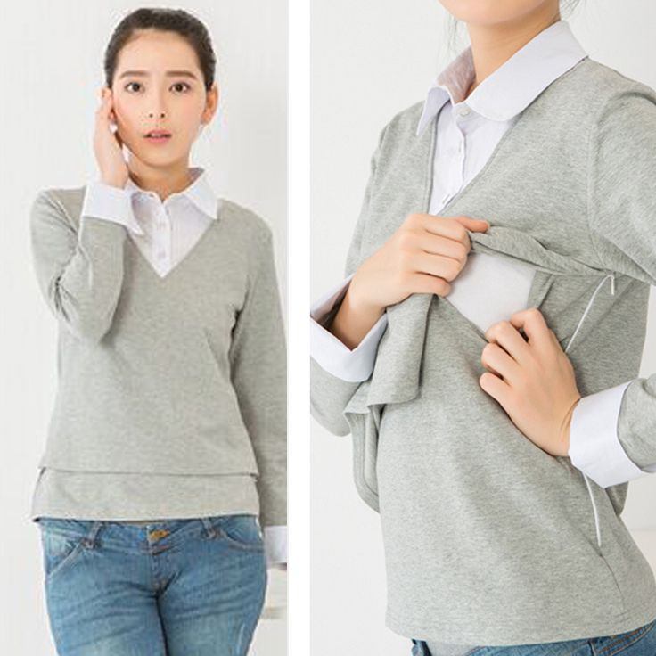 Maternity Nursing Top Spring and Autumn Long sleeve Maternity Clothes Office Lady Style Bodycon Breastfeeding Tops