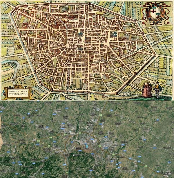 #Bologna, #Italy #Map: #Then (1588) and #Now (2015) http://old-cities-world.blogspot.rs/2015/10/bologna-italy-map-then-1588-and-now-2015.html #oldmaps