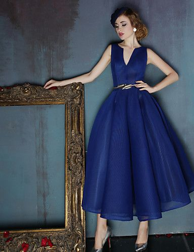 Dress - Dark Navy Ball Gown V-neck Tea-length Spandex – USD $ 159.99