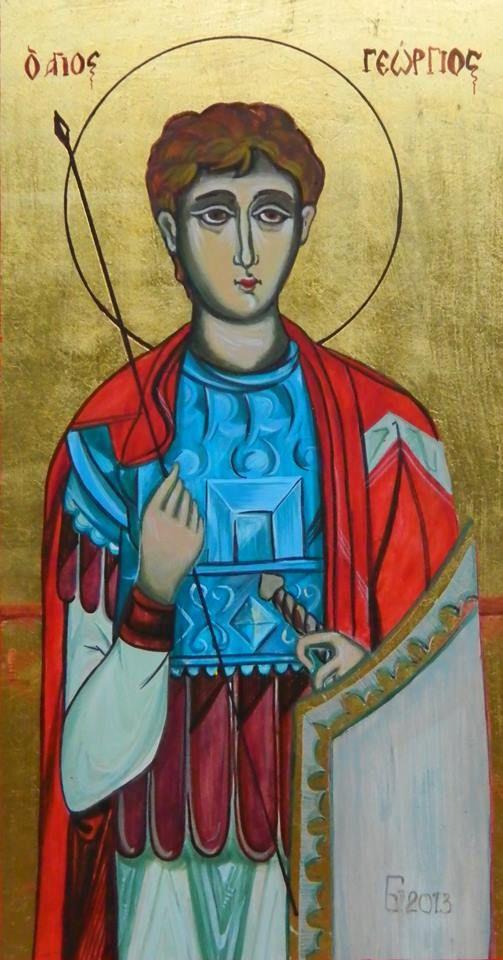 Sf. mucenc Gheorghe, icoana pe lemn de tei cu foita de aur, pictata in culori acrilice, 26x 17 cm VANDUT!