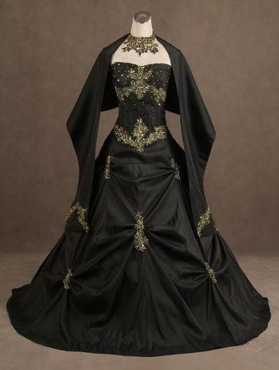 Black Strapless Gothic Wedding Dress
