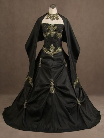 Black wedding host dresses : Gothic wedding dresses black and gowns