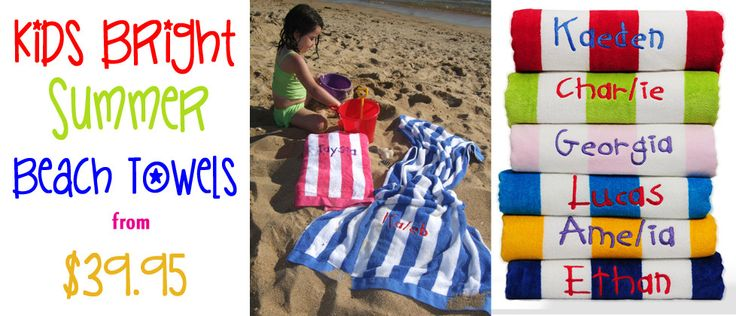 Personalised Kids Beach Towels #personalisedbeachtowels #kidsbeachtowels