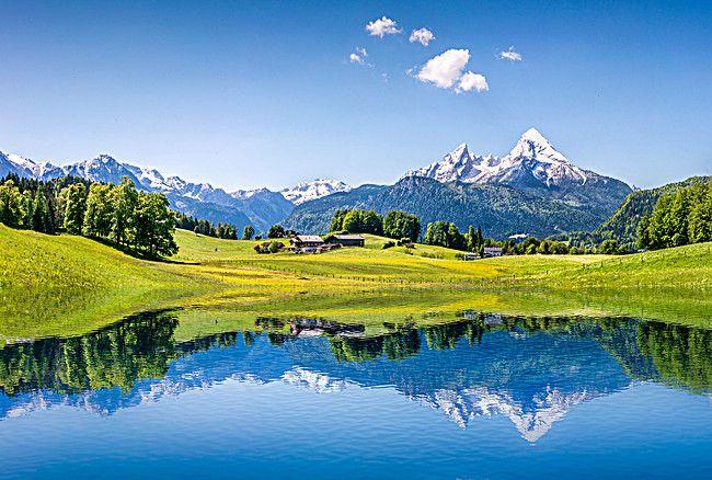 Lake Golf Course Landscape Course Background Summer Landscape Alps Mountain Lake