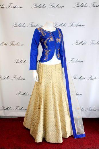 Palkhi Fashion Full flair Silk blue/Gold Fusion Lehenga.