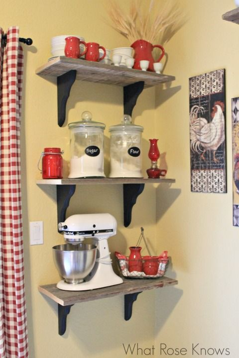 Rustic Country Shelves for farmhouse style kitchen. Great occasional use storage idea