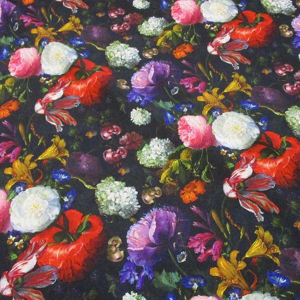 """Stoff retro - Stoff Baumwolle Blüten """"alte Meister"""" schwarz bunt - ein Designerstück von werthers-stoffe bei DaWanda"""