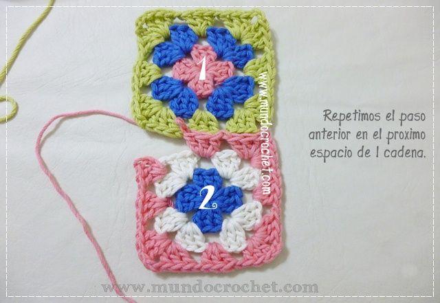 como unir cuadrados granny a crochet o ganchillo5