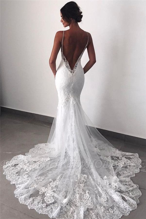 Backless Wedding Dresses Lace Mermaid | Sexy Spaghetti Straps Bride Dress Cheap …
