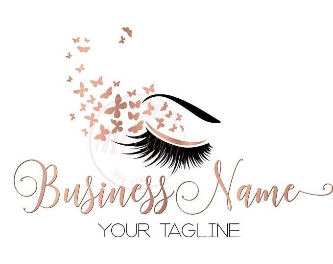 DIGITAL Diseño de logotipos personalizados, pestañas con el logo de la mariposa, pestañas belleza insignia, logo de maquillaje, pestañas oro rosa diseño, logo de la hoja de oro rosa