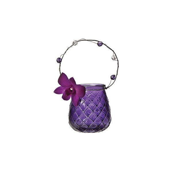 Love this purple hanging vintage glass vase / tealight holder. Perfect with that (orchid?) in it. Link is to Polyvore but sold at Luna Bazaar.
