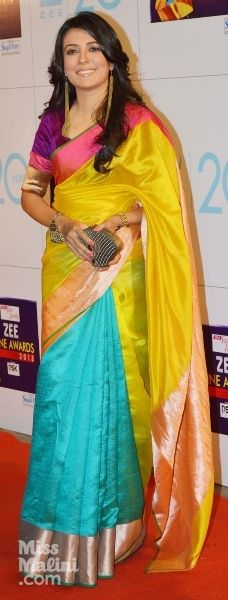 Color blocking saree