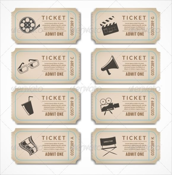 Vintage Movie Ticket Template                                                                                                                                                      More