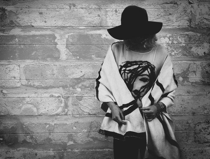 "danavaleins on Instagram: ""Handmade wool scarf & silk top #fashion #style #valeins #handmade #nunofelt #felt #streetstyle #streetfashion #aucklandfashion #merino #merinowool #newzealandwool #OOTD #nzfashion #white #black #leather #scarf #recycle #recycledsilk #fedorahat #insta_art #creativeshot #photography #blackandwhite #blackandwhitephotography"""