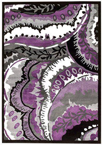 purple gray black white modern area rug carpet large