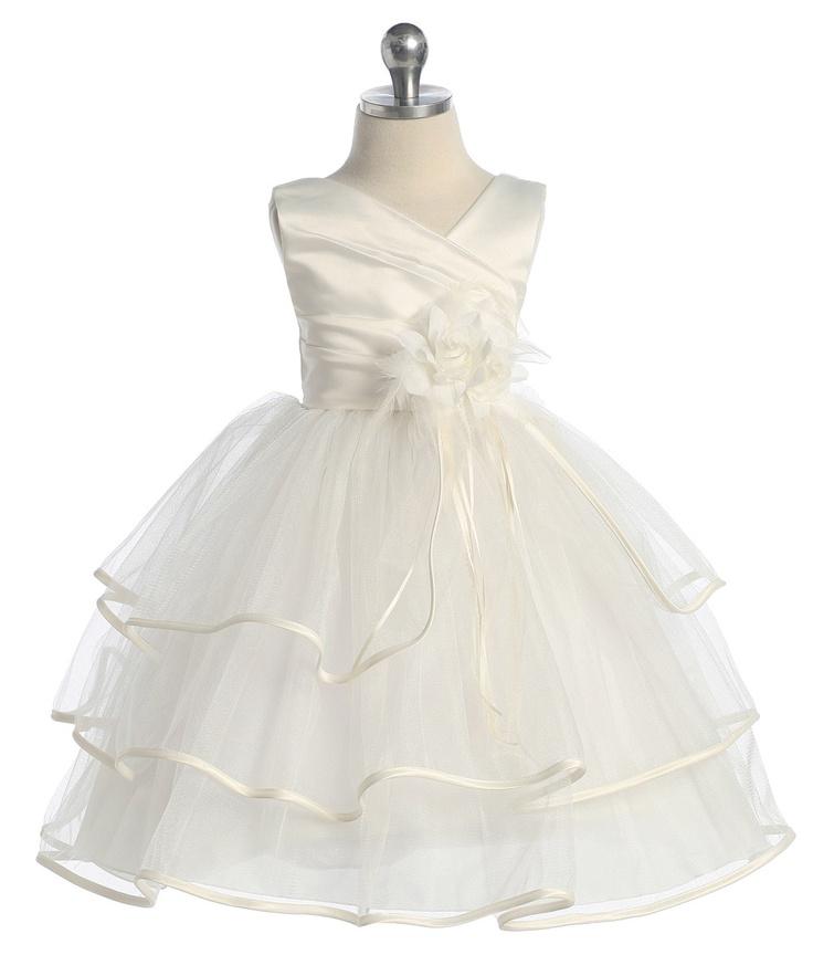 Elegant Three Tiered Tulle Ivory Dress