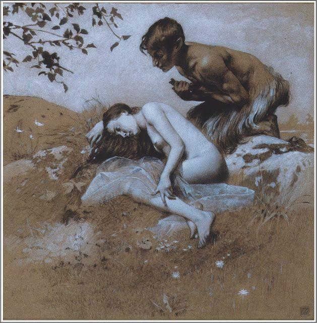 Koloman Moser (1868-1918), L'Amour, Planche 35 - Gerlachs Allegorien,1895.