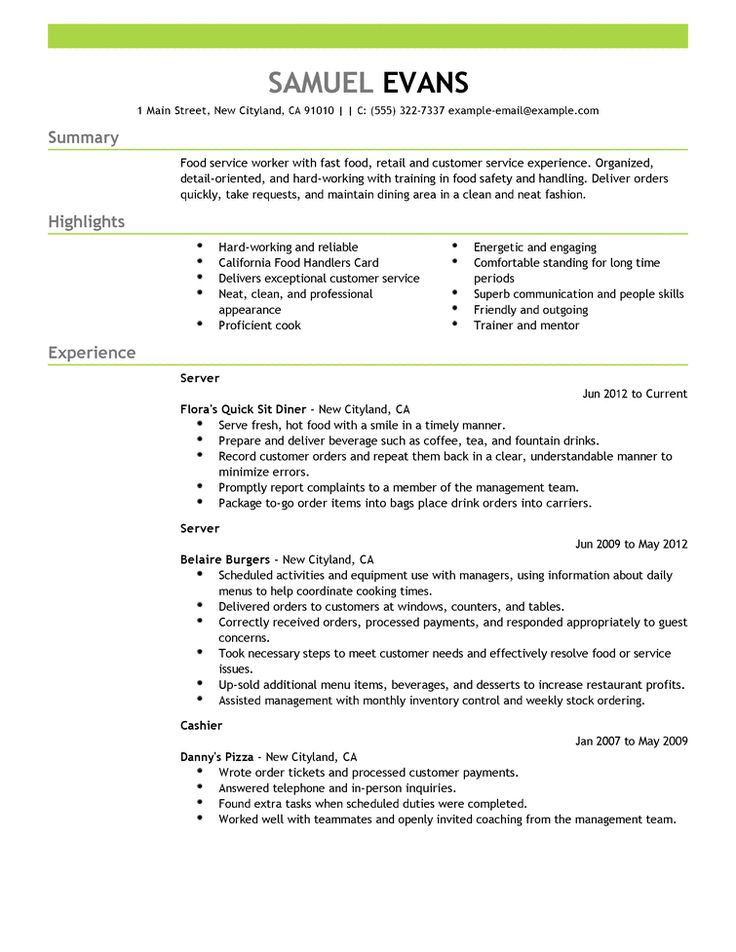 Sample Resume For Food Service | Tomu.Co